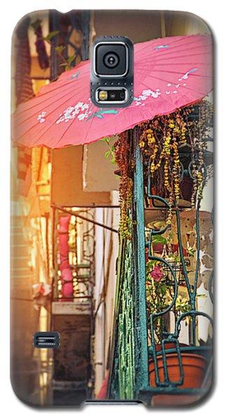 Pink Parasol On A Lisbon Balcony  Galaxy S5 Case