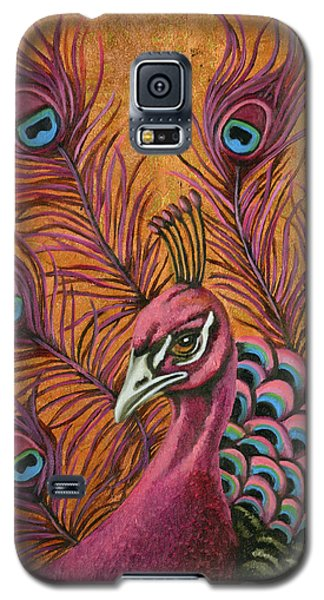 Galaxy S5 Case featuring the painting Pink Peacock by Leah Saulnier The Painting Maniac