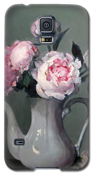 Pink Peonies In White Coffeepot Galaxy S5 Case