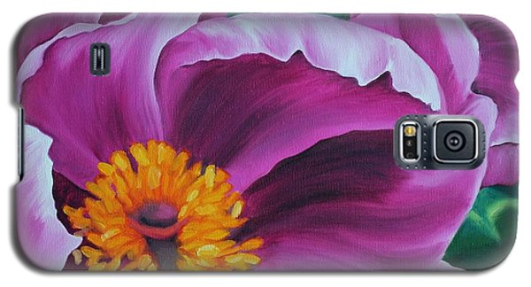Galaxy S5 Case featuring the painting Pink Peony by Jindra Noewi