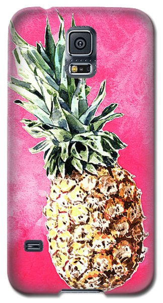 Pink Pineapple Bright Fruit Still Life Healthy Living Yoga Inspiration Tropical Island Kawaii Cute Galaxy S5 Case by Laura Row