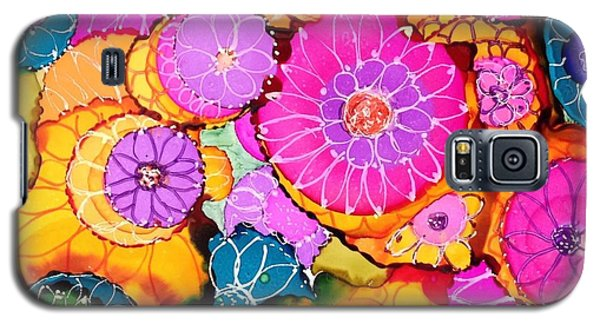 Galaxy S5 Case featuring the painting Pink Pinwheel Flowers by Suzanne Canner