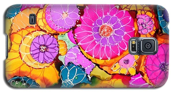 Pink Pinwheel Flowers Galaxy S5 Case by Suzanne Canner