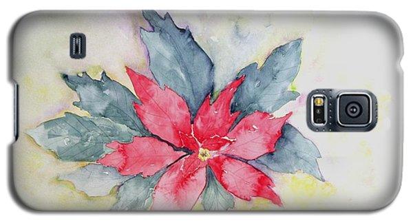 Pink Poinsetta On Blue Foliage Galaxy S5 Case