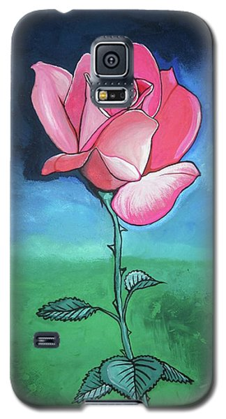 Galaxy S5 Case featuring the painting Pink Rose by Mary Ellen Frazee