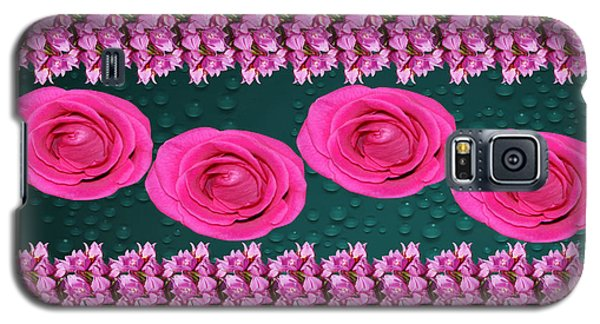 Galaxy S5 Case featuring the photograph Pink Roses Floral Display by Gary Crockett