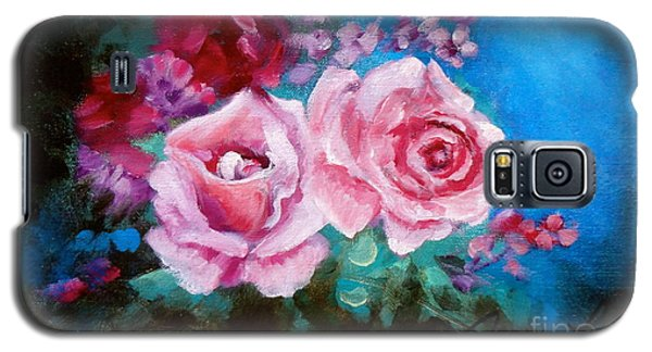 Pink Roses On Blue Galaxy S5 Case by Jenny Lee