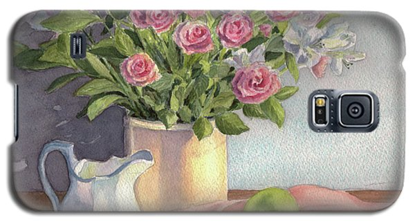 Galaxy S5 Case featuring the painting Pink Roses by Vikki Bouffard