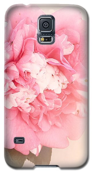 Galaxy S5 Case featuring the photograph Pink Ruffled Camellia by Cindy Garber Iverson