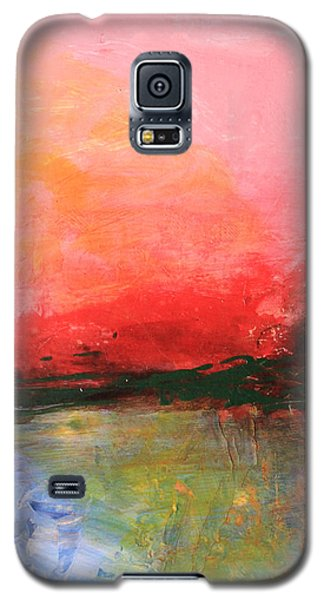 Pink Sky Over Water Abstract Galaxy S5 Case