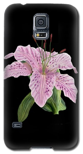 Galaxy S5 Case featuring the digital art Pink Tiger Lily Blossom by Walter Colvin