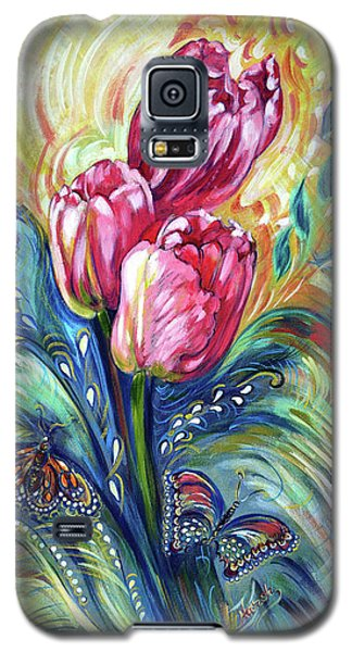 Pink Tulips And Butterflies Galaxy S5 Case