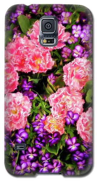 Pink Tulips With Purple Flowers Galaxy S5 Case by James Steele