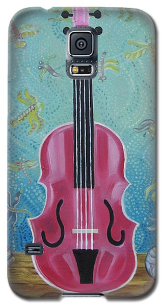 Pink Violin With Fireflies And Shells Still Life Galaxy S5 Case by John Keaton