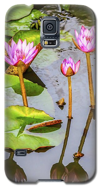 Pink Water Lilies In A Pond Galaxy S5 Case