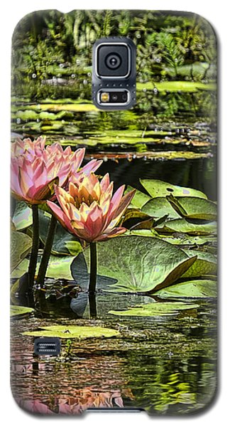 Galaxy S5 Case featuring the photograph Pink Water Lily Reflections by Bill Barber