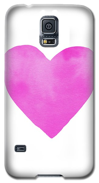 Galaxy S5 Case featuring the mixed media Pink Watercolor Heart- Art By Linda Woods by Linda Woods