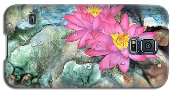 Galaxy S5 Case featuring the painting Pink Waterlily by Sherry Shipley