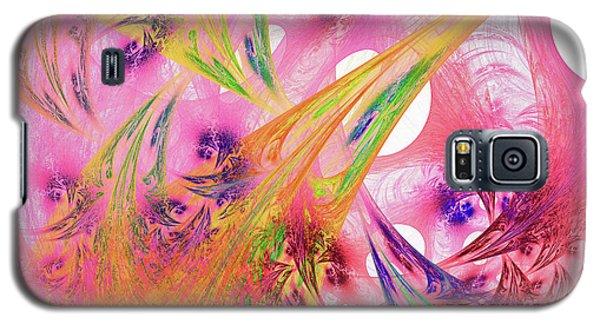 Galaxy S5 Case featuring the digital art Pink Web by Deborah Benoit