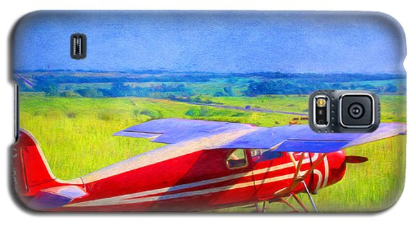 Piper Cub Airplane In Kansas Prairie Galaxy S5 Case