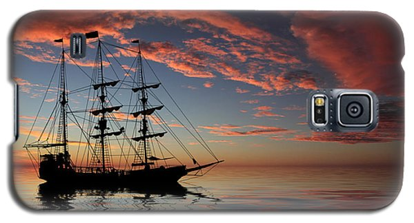Pirate Ship At Sunset Galaxy S5 Case by Shane Bechler