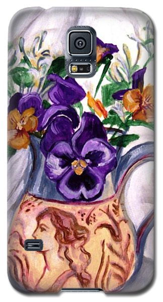 Galaxy S5 Case featuring the painting Pitcher Of Pansies by Laura Aceto