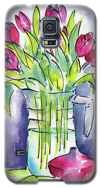 Galaxy S5 Case featuring the painting Pitcher Of Tulips by Pat Katz