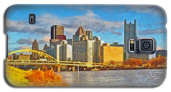 Galaxy S5 Case featuring the digital art Pittsburgh From The Shore Of The Ohio River by Digital Photographic Arts