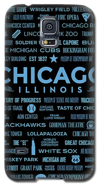 Galaxy S5 Case featuring the digital art Places Of Chicago Blue On Black by Christopher Arndt