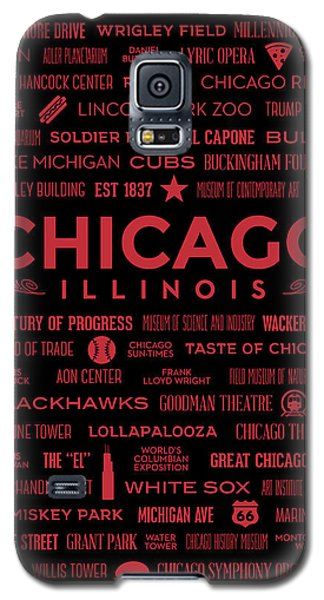 Galaxy S5 Case featuring the digital art Places Of Chicago On Red On Black by Christopher Arndt