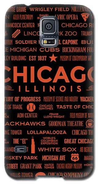 Galaxy S5 Case featuring the digital art Places Of Chicago Orange On Black by Christopher Arndt