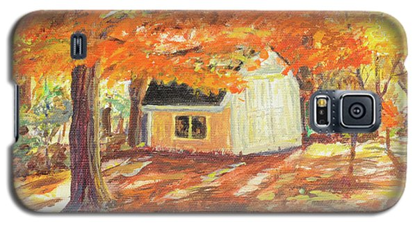 Galaxy S5 Case featuring the painting Playhouse In Autumn by Carol L Miller