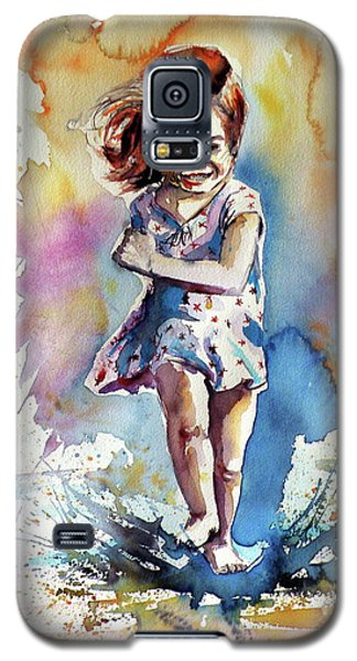 Galaxy S5 Case featuring the painting Playing Girl by Kovacs Anna Brigitta