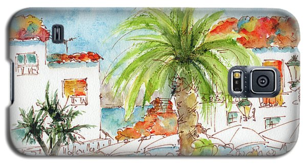 Galaxy S5 Case featuring the painting Plaza Altea Alicante Spain by Pat Katz