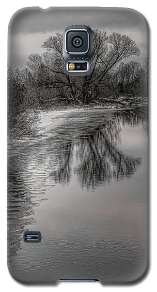 Plover River Black And White Winter Reflections Galaxy S5 Case