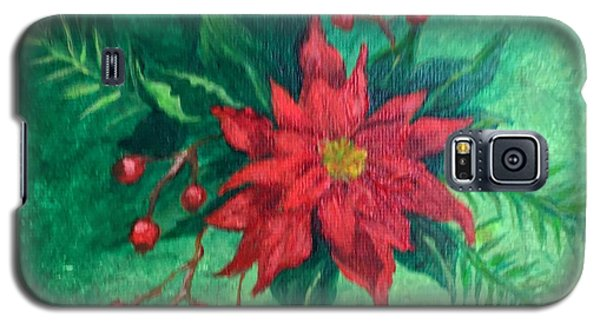 Galaxy S5 Case featuring the painting Poinsettia by Lucia Grilletto