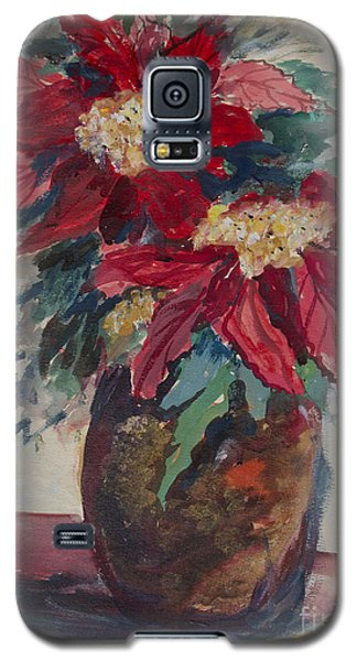 Galaxy S5 Case featuring the painting Poinsettias In A Brown Vase by Avonelle Kelsey