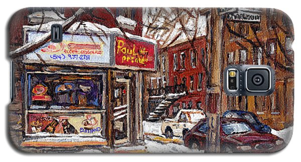 Pointe St Charles Montreal Winter Scene Painting Paul Patates Restaurant At Coleraine And Charlevoix Galaxy S5 Case