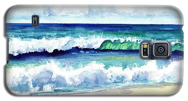 Galaxy S5 Case featuring the painting Polhale Waves 3 by Marionette Taboniar