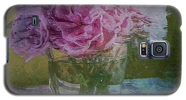 Galaxy S5 Case featuring the digital art Polite Peonies by Alexis Rotella