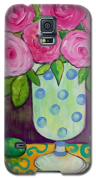 Galaxy S5 Case featuring the painting Polka-dot Vase by Rosemary Aubut
