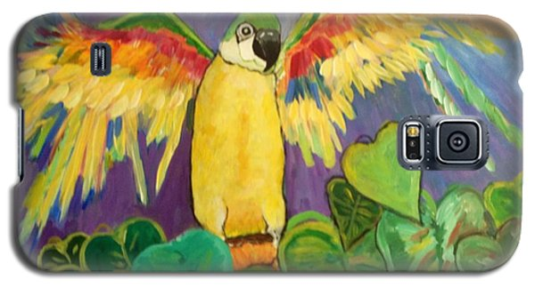 Galaxy S5 Case featuring the painting Polly Wants More Than A Cracker by Rosemary Aubut