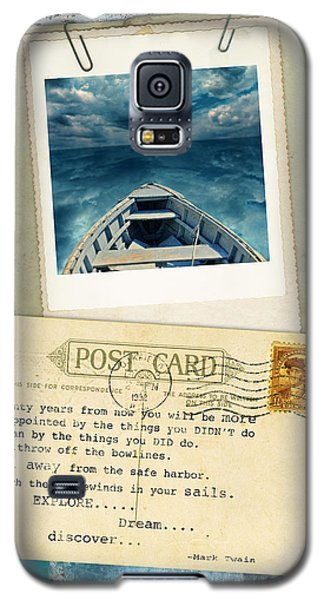 Poloroid Of Boat With Inspirational Quote Galaxy S5 Case