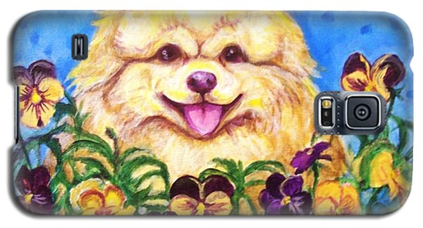 Galaxy S5 Case featuring the painting Pomeranian With Pansies by Laura Aceto