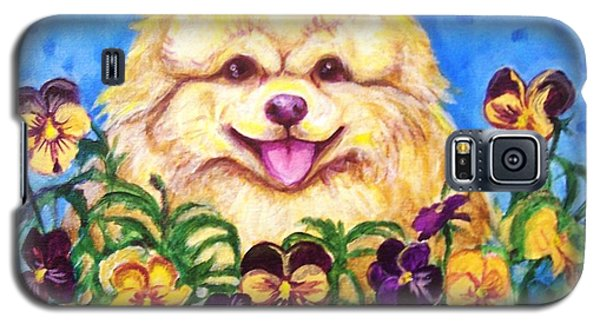Pomeranian With Pansies Galaxy S5 Case