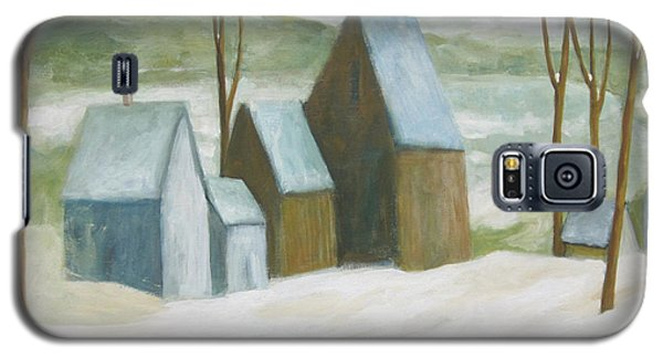 Galaxy S5 Case featuring the painting Pond Farm In Winter by Glenn Quist