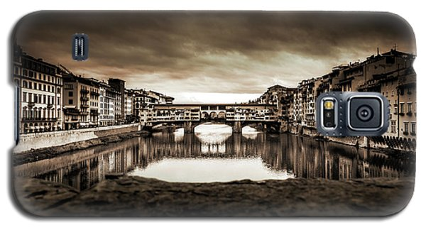 Galaxy S5 Case featuring the photograph Ponte Vecchio In Sepia by Sonny Marcyan