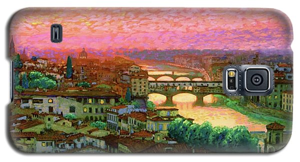 Impressionism Galaxy S5 Case - Ponte Vecchio Sunset Florence by Jane Small