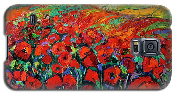 Poppies And Cypresses - Modern Impressionist Palette Knives Oil Painting Galaxy S5 Case