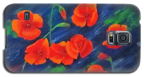 Galaxy S5 Case featuring the painting Poppies In Abstract by Roseann Gilmore